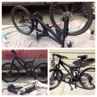 Spray Painting My Mad Max Survival Mountain Bike Flat Black