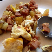 35 Cent Survivalist Breakfast - Spicy Potatoes with Spam and Eggs