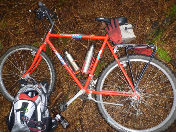 Red Survival Mountain Bike and Backpacking Gear Photo