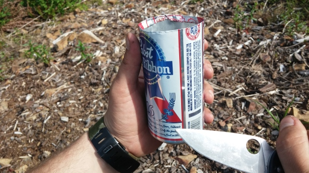 Pabst Beer can cup