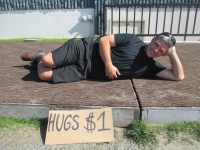 Cam selling hugs for $1